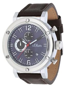 s.Oliver Herren-Armbanduhr Analog Quarz Leder SO-15158-LCR - 1