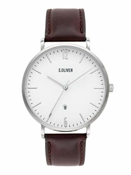 s.Oliver Time Herren Analog Quarz Uhr mit Leder Armband SO-3617-LQ - 1