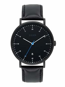 s.Oliver Time Herren Analog Quarz Uhr mit Leder Armband SO-3618-LQ - 1