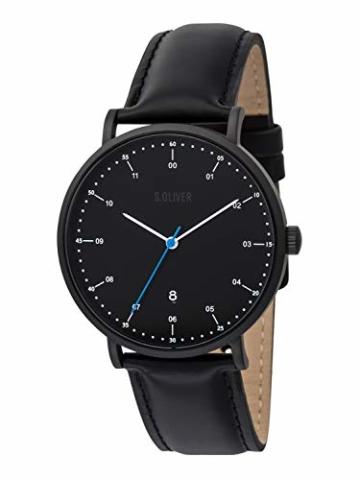 s.Oliver Time Herren Analog Quarz Uhr mit Leder Armband SO-3618-LQ - 3