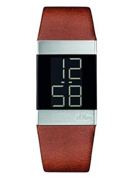 S.Oliver Unisex-Uhr Digital Quarz mit Lederarmband – SO-3182-LD - 1