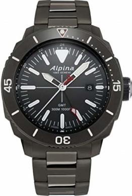 Alpina Seastrong Diver GMT Herren-Armbanduhr 44mm Batterie AL-247LGG4TV6B - 1