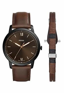 Fossil Herren Analog Quarz Uhr mit Leder Armband FS5557SET - 1