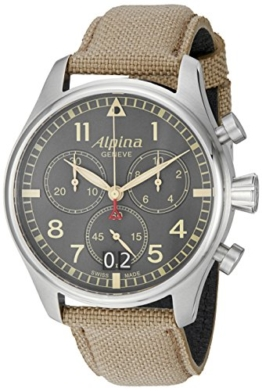 Alpina Herren al-372bgr4s6Startimer Pilot Chronograph Big Date Analog Display Swiss Quarz Beige Armbanduhr - 1