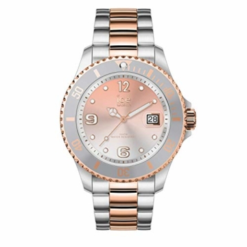 Ice-Watch - Ice Steel Silver Sunset rose-gold - Silbergraue Damenuhr mit Metallarmband - 016769 (Medium) - 1