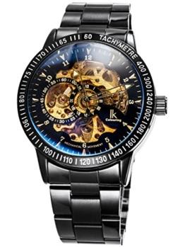 Alienwork IK Herren Damen mechanische Automatik-Uhr schwarz mit Edelstahl Metallarmband Skelett - 1