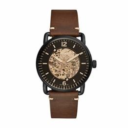 Fossil Herren Analog Automatik Uhr mit Leder Armband ME3158 - 1