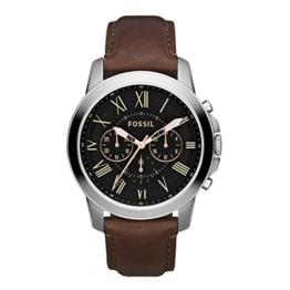 Fossil Herren Analog Quarz Uhr mit Leder Armband FS4813IE - 1