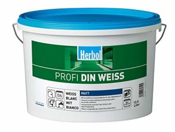 Herbol Profi DIN weiß Wandfarbe Innenfarbe matt, 12.5 L - 1