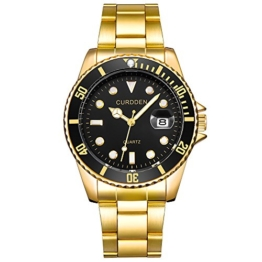 Herren Edelstahl Uhren,Kimdera Männer Chronographen Luxus Elegant Design Wasserdicht Datum Kalender Goldene Uhr Unisex Business Mode Kleid Analog Quarz analog Armbanduhr (Gold) - 1