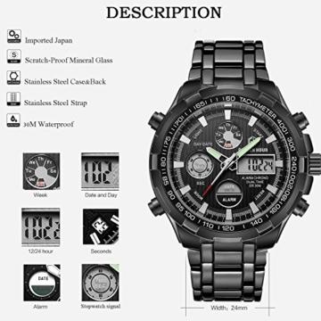 Herren-Quarzuhr, analoge und digitale Anzeige, Chronograph, große Anzeige, aus Edelstahl, wasserdicht, schwarz - 3