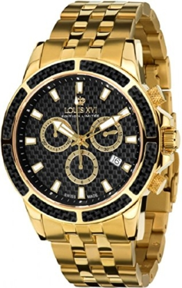 LOUIS XVI Herren-Armbanduhr Majesté Stahlband Gold Schwarz Karbon Chronograph Analog Quarz Edelstahl 480 - 1