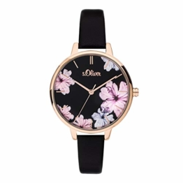 s.Oliver Damen Analog Quarz Uhr mit Leder Armband SO-3779-LQ - 1