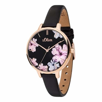 s.Oliver Damen Analog Quarz Uhr mit Leder Armband SO-3779-LQ - 2
