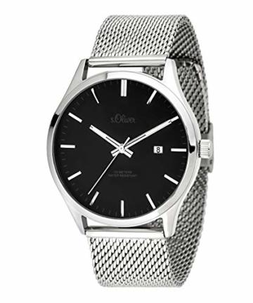 s.Oliver Herren Analog Quarz Uhr mit Edelstahl (Silber/Schwarz) - 1