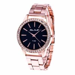 Souarts Damen Einfach Edelstahl Armbanduhr Silber Gold Rosegold Farbe Quarzuhr Analog mit Batterie - 1
