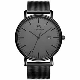 Vigor Rigger Herren Quarzuhr ultradünne Schwarz Armbanduhr für Herren Classic Minimalistisches Design mit Datum Kalender und Edelstahlband - 1