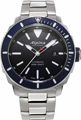 Alpina Seastrong Diver 300 Automatik Uhr, Schwarz, 44mm, 30 atm, Stahlband - 1