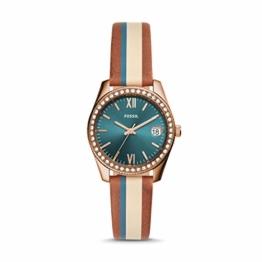 Fossil Damen Analog Quarz Uhr mit Leder Armband ES4593 - 1