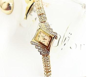 Gold Plated Armbanduhren Imitation von Diamant Uhren Elegante Rhombus Frauen Mädchen Damen Armbanduhr Geschenk für Freundin - 2