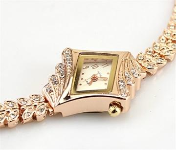 Gold Plated Armbanduhren Imitation von Diamant Uhren Elegante Rhombus Frauen Mädchen Damen Armbanduhr Geschenk für Freundin - 3