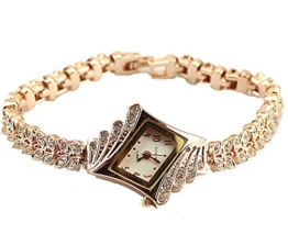 Gold Plated Armbanduhren Imitation von Diamant Uhren Elegante Rhombus Frauen Mädchen Damen Armbanduhr Geschenk für Freundin - 1