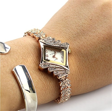 Gold Plated Armbanduhren Imitation von Diamant Uhren Elegante Rhombus Frauen Mädchen Damen Armbanduhr Geschenk für Freundin - 6