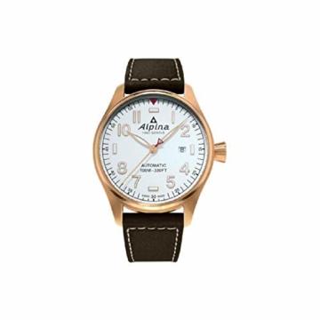 Alpina Herren-Armbanduhr 44mm Armband Leder Braun Automatik Analog AL-525S4S4 - 1