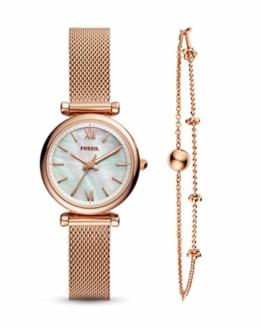 Fossil Damen Analog Quarz Uhr mit Edelstahl Armband ES4443SET - 1