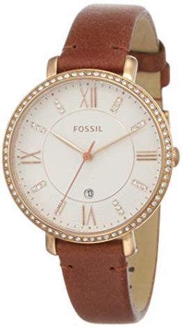 Fossil Damen Analog Quarz Uhr mit Leder Armband ES4413 - 1