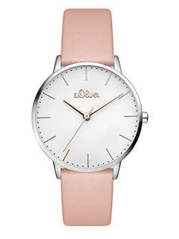 s.Oliver Damen Analog Quarz Armbanduhr mit Leder Armband SO-3443-LQ - 1