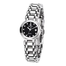 BINLUN Damen Analog Quarzwerk Uhr mit Edelstahl Armband Wasserdicht FBL0016L-SSB-A - 1