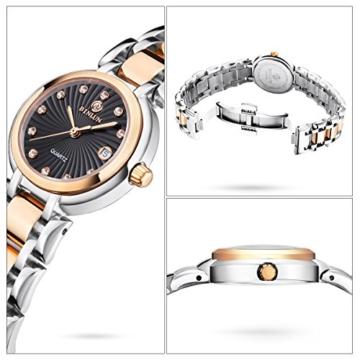 BINLUN Damen Analog Quarzwerk Uhr mit Zweifarbiges Edelstahl Armband Rosegold FBL0016L-SRB-A - 2
