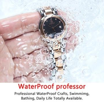 BINLUN Damen Analog Quarzwerk Uhr mit Zweifarbiges Edelstahl Armband Rosegold FBL0016L-SRB-A - 3