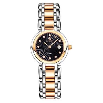 BINLUN Damen Analog Quarzwerk Uhr mit Zweifarbiges Edelstahl Armband Rosegold FBL0016L-SRB-A - 1