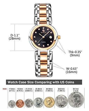 BINLUN Damen Analog Quarzwerk Uhr mit Zweifarbiges Edelstahl Armband Rosegold FBL0016L-SRB-A - 5