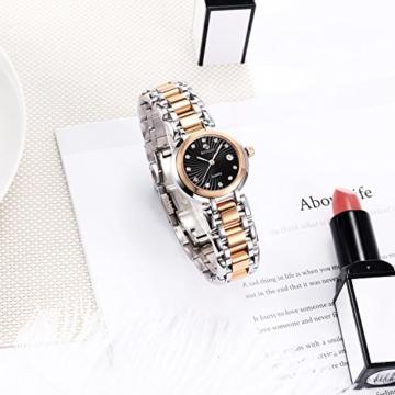 BINLUN Damen Analog Quarzwerk Uhr mit Zweifarbiges Edelstahl Armband Rosegold FBL0016L-SRB-A - 6