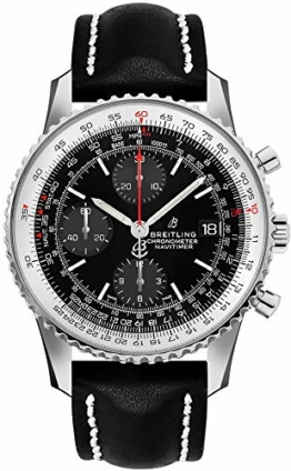 Breitling Navitimer 1 Chronograph 41 Stahl Herren-Armbanduhr auf schwarzem Lederband A13324121B1X1 - 1