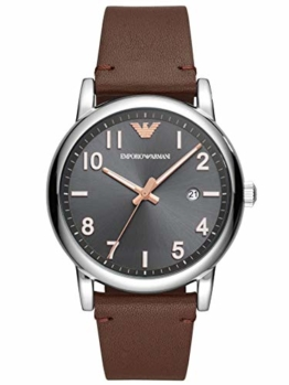 Emporio Armani Herren Analog Quarz Uhr mit Leder Armband AR11175 - 1