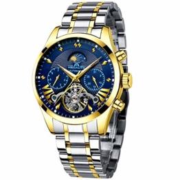 Herren Automatikuhr Männer Mechanische Automatik Wasserdicht Gold Edelstahl Skelett Designer Armbanduhr Mann Blau Datum Leuchtende Mond Phase Analog Uhren - 1