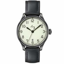 LACO Marineuhr Casablanca, Damen- u. Herren Armbanduhr, schwarzes Lederband, Saphirglas, Ø 39 mm, Miyota 821 A Automatik, inkl. Etui - 862115 - 1