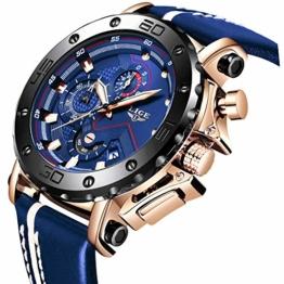 LIGE Herren Chronograph Wasserdicht Leder Armband Sport Analog Quarz Uhr Männer Großes Gesicht Datum Mode Casual Uhren Roségold Schwarz Uhr - 1