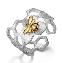 Lotus Fun Damen Ring Biene und Honigwabe Offener Ring S925 Sterling Silber Handgemachte Ringe Weihnachten Geschenk für Frauen und Mädchen. - 1