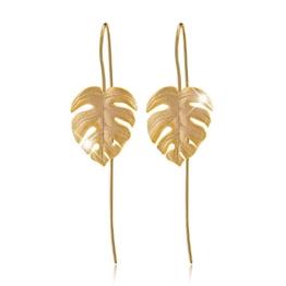 Lotus Fun S925 Sterling Silber Tropfen Ohrringe Monstera Blätter Ohrringe Ohrstecker für Damen, Handgemachte Einzigartige Schmuck (Gold) - 1