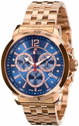 LOUIS XVI Herren-Armbanduhr Athos le Grand Stahlband Rosegold Blau echte Diamanten Chronograph Analog Quarz Edelstahl 888 - 1