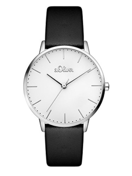 s.Oliver Damen Analog Quarz Armbanduhr mit Leder Armband SO-3440-LQ, schwarz - 1