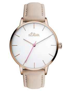 s.Oliver Damen Analog Quarz Uhr mit Leder Armband SO-3463-LQ - 1