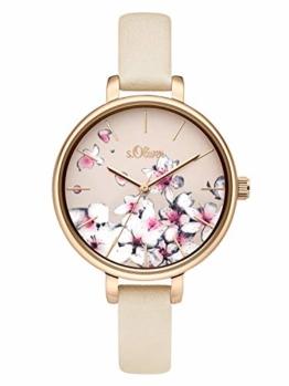 s.Oliver Damen Analog Quarz Uhr mit Leder Armband SO-3783-LQ - 1