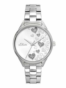 s.Oliver Time Damen Analog Quarz Uhr mit Edelstahl Armband SO-3599-MQ, silber Herzen - 1