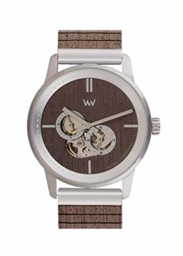 WeWood Holz Automatikuhr Foremast Automatic Silver Choco WW66001 - 1